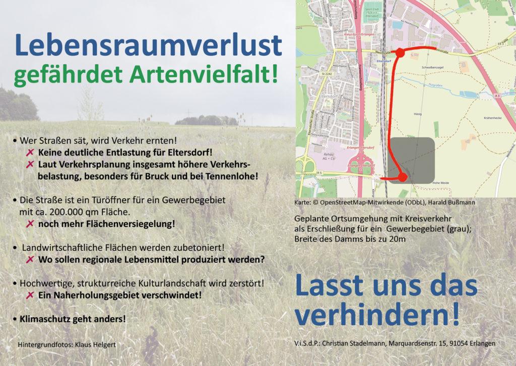 """Flyer """"Rettet das Häsig - Stoppt Ortsumgehung und Gewerbegebiet Eltersdorf!"""", Rückseite"""